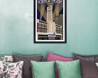 Lake Superior Shore Towns Series: WPA-Style NorShor Theatre in Duluth, MN Travel Poster
