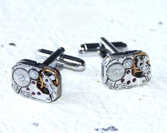 GIRARD PERREGAUX Steampunk Cufflinks - RARE Luxury Swiss Matching Silver Vintage Watch Movement Men Steampunk Cufflinks Cuff Links Men Gift