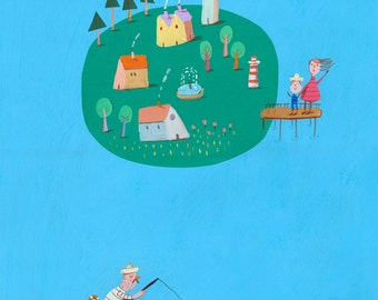fishing village Original Illustration