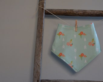 Mint Bandana Bib - Flowers and Arrows Baby Girl Bib - Baby Toddler Drool Bib