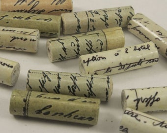 """12 Paper Beads,Hand Rolled, Script Tube Paper Beads, (1"""" Inch lenght), 3mm Bead Hole Bicone Beads, Craft Beads"""