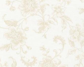 "Robert Kaufman - Whisper Prints Wide  - SRKX-14551-303 Blanc - 108"" Wide - Wide Width - Neutral - Floral - Basic Blender"