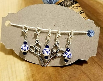 Traditional Blue Flowers and Scissor Crochet & Stitch Markers