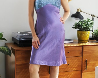 Purple & Blue Sequin Halter Keyhole Back Short Party Dress