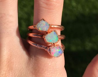 Raw Opal Ring | Choose your stone - Made to Order | Electroformed Copper Jewelry| Australian Opal | Handmade