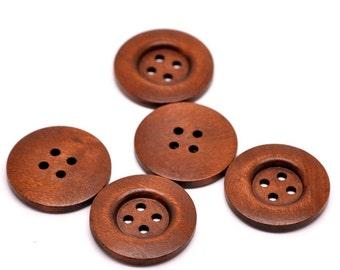 Gros Bouton Brun Cuivre - 4 boutons en bois de 35mm  (BB136A)