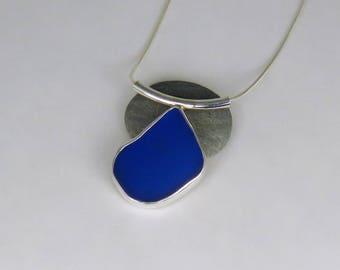 Cobalt Blue Sea Glass Bezel Pendant Necklace Maine