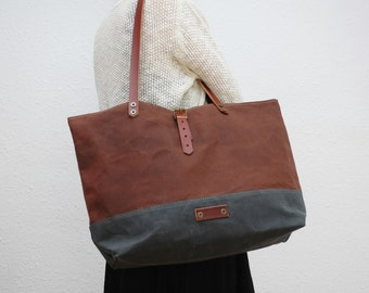 waxed canvas  bag , chocolatte color,charcoal ,with leather handles and closures,hand wax