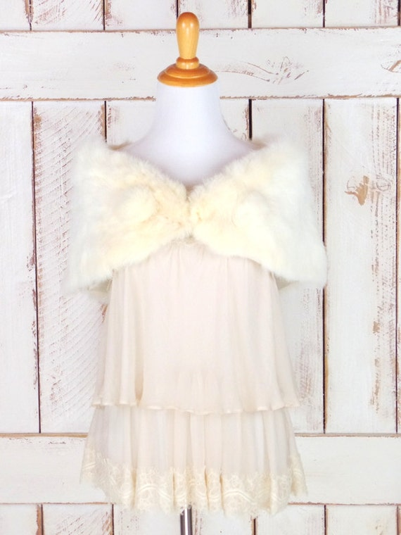 caplet capelet stole vintage coverlet light white bridal fur wedding 50s ivory fur wrap stole rabbit vCxwUnOqz