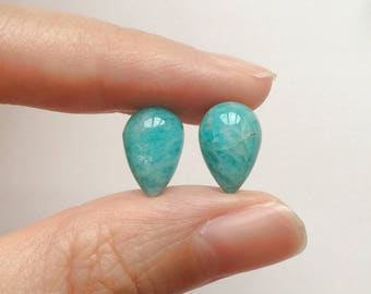 Mozambique Amazonite Upside Down Half Drilled Acorn Inverted Teardrops 8x12 mm One Pair G6957
