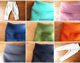 Organic Merino Wool Longies - Hand-Dyed Wool Interlock Baby Pants - Choose from 7 Colors - Small Medium Large - Wool Diaper Cover Pants