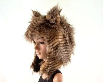 Brown Owl Hat Faux Fur Animal Hat