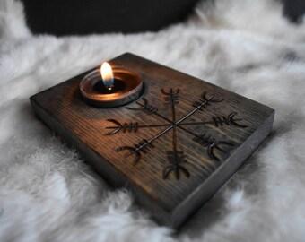 Helm of awe Ægishjálmr candle holder *norse*nordic*asatru*pagan*decor*housewarming*pyrography*