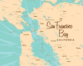 San Francisco Bay, CA Map - Canvas Print