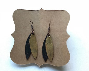 Gold and brown leaf earrings