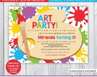 Rainbow party invite Etsy