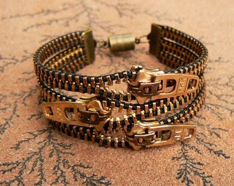 Uno Dos Tres Brass Zipper Bracelet