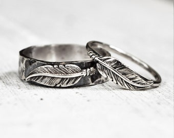 Hammered Sterling Silver Feather Ring Pair, His & Hers Wedding Bands, Unisex Rings, Bohemian Jewelry, Woodland, Unique Couples Rings