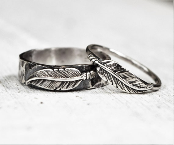 Hammered Sterling Silver Feather Ring Pair His Hers Wedding