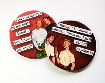 Coasters, Drink Coasters, Funny Coasters, Gift for her, Hostess Gift, Funny Gift, Stocking Stuffer, Funny Women, Best Friend Gift (5198h)