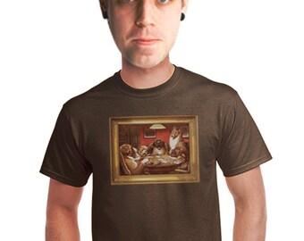 mens poker t-shirt dogs playing poker shirt gifts for gamblers las vegas casino vacation printed gambling shirt kitchy lowbrow art on shirt