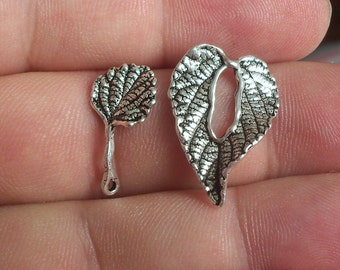 2 Solid Sterling Silver 925 one of its kind Leaf Toggle Clasp beads(2 clasp sets)