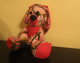 Made to order Pink camo stuffed bunny/plushie/easter bunny