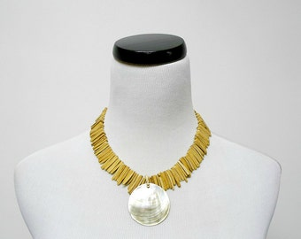CAROLINA .  mother of pearl and coco shell fringe necklace / choker