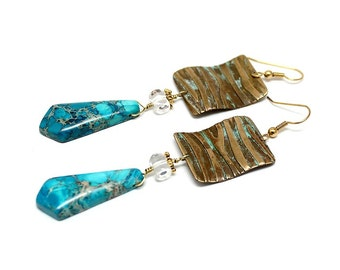 Womans boho Earrings, dangle, vintage brass, regalite, contemporary, gipsy, bohemian,turquoise, lissie design, unique pair  - Free shipping!