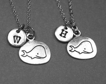 Best friend necklace, whale necklace, whale charm, animal necklace, BFF necklace, friendship jewelry, personalized necklace, initial charm