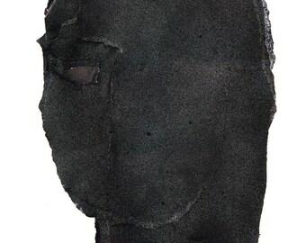 Somebody - Giclee Print of Abstract Black Painting, Original Modern Art Print, Woman Dark Image