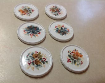 Vintage coaster set Gibson china embossed scroll white with pine cones pine cone design set 6, white milk glass coasters pine cone design