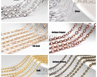 Wholesale 5 Meters Brass Base Oval link Chains- Antique Bronze/ Silver/ Gold/ Nickel/ 14K Gold/ 16k Gold/ Antique Copper- H470