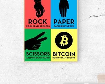 BITCOIN- Rock Paper Scissors Bitcoin- Digital Wall Art