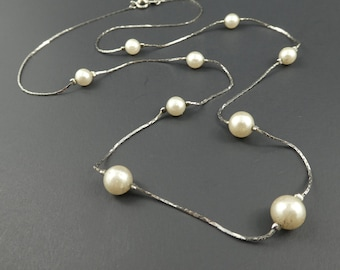 Vintage, Faux Pearl, Necklace, Beaded, Silver Tone Chain, STU8