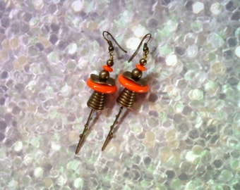 Orange and Brass Boho Earrings (1915)