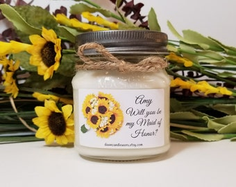 Will You Be My Maid of Honor Candles - Maid of Honor Gifts - 8oz Soy Candles Handmade - Personalized Candles - Bridal Party Favors