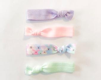 Bunny hair ties - easter hair ties - pastel hair ties - girls hair accessories -girls easter accessories - girls easter basket