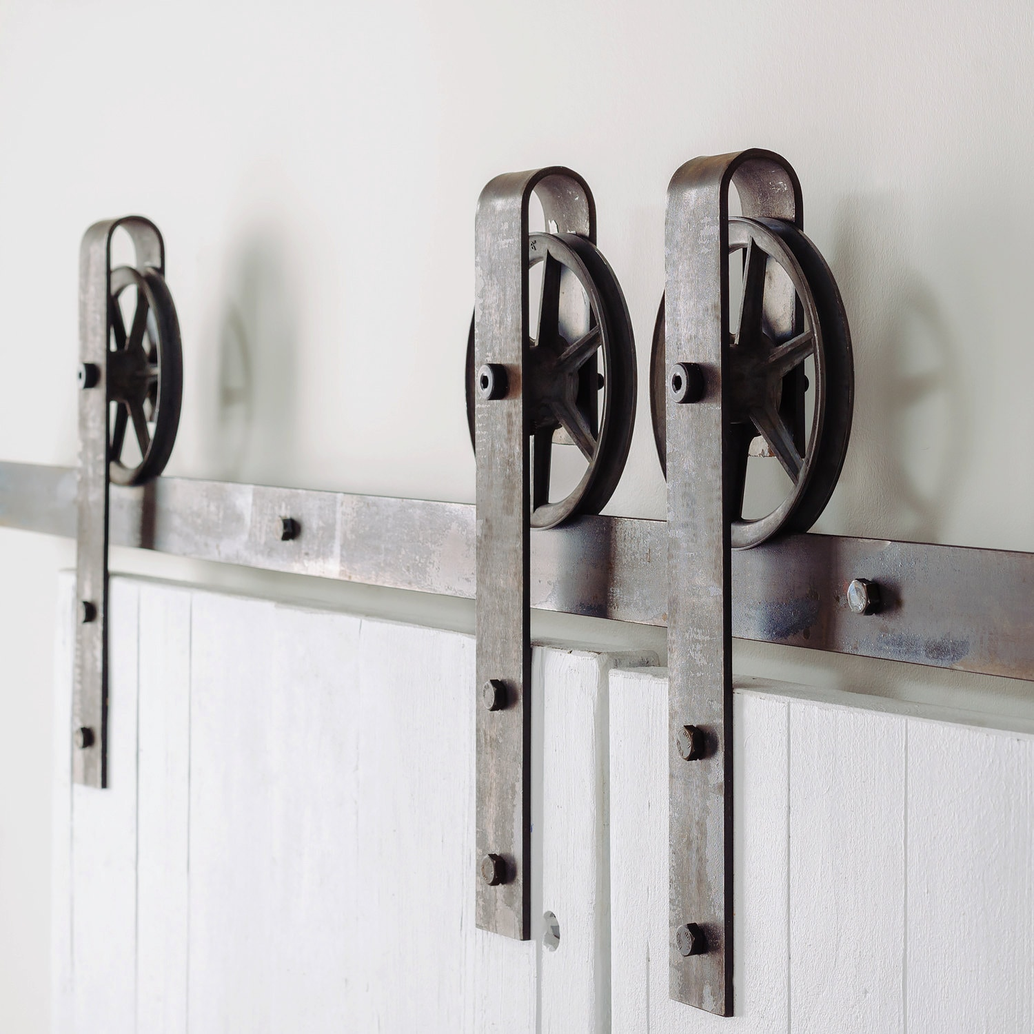 Vintage Spoked Double Door Sliding Barn Door Hardware Set