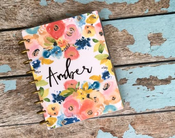 """CUSTOMIZABLE Happy Planner """"Spring Floral"""", 10 Mil Laminated"""