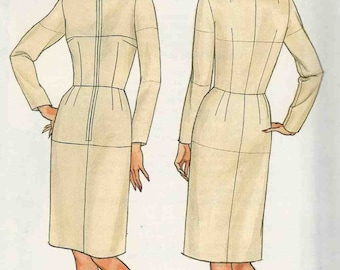 Butterick 3415 Classic fitted dress jewel neckline front opening sleeves straight skirt knee lengthSize 20 22 24 Vintage (uncut)