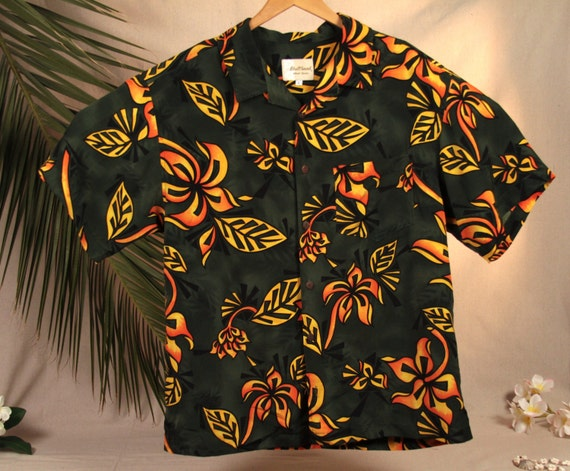 Bullhead Island Series Vintage Dark Green Orange Flowers Men's Hawaiian Shirt. Size L glM4280A