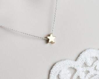 Tiny Star Necklace, Gold Plated Star Necklace, Tiny Gold Plated Star on Sterling Silver Chain, Modern Minimalist Necklace