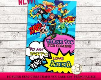 Dc Super Hero Girls Thank You card, dc superhero girls, dc superhero girls birthday, dc superhero girls party, dc superhero girls, dc super