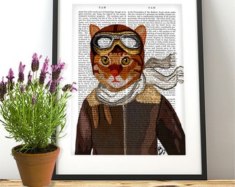 Flying Cat poster, Ginger cat decor cat illustration cat picture cat gift for cat lover Dictionary Print wall art wall decor, cat print
