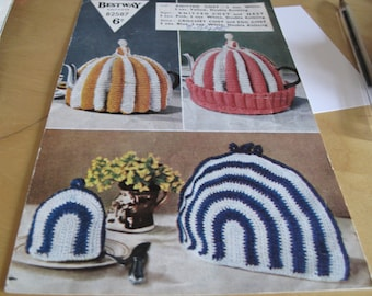 1 original Weldons tea and egg cosies knitting pattern B2587 4 knitting and or crochet  1950's. Most unusual, rarely  seen Stock ref KP 511