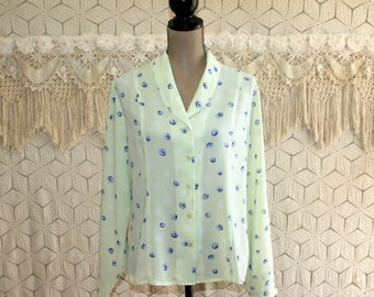 Womens Blouse Large Petite Light Green Print Long Sleeve Button Up Womens Tops Womens Shirts Womens Clothing