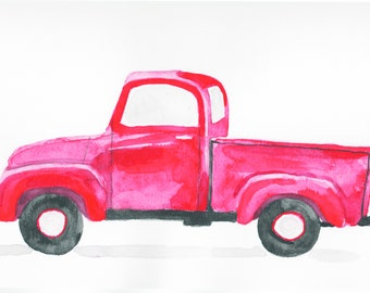 9x12 in. red pickup truck watercolor print