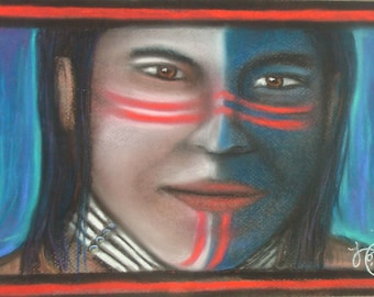 """Native American Pastel Artist's """"Warpaint"""" Giclee Print Ready to Order"""