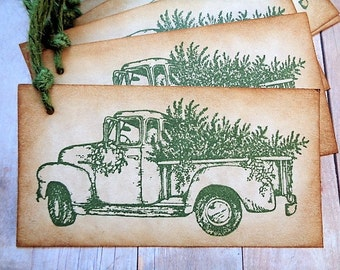 Christmas Gift Tags Rustic Country Christmas Tree Truck